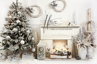 Silver and white fireplace scene