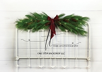 Christmas Iron Headboard - white with lit swag
