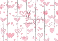 Pink Hearts on White Planks