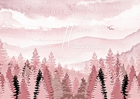 Misty Mountain Forest - Pink