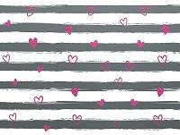 Gray & Pink Heart Stripes
