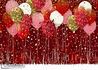 Tinsel Party red gold hearts
