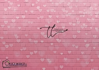 Faded hearts pink brick wall