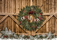 CHRISTMASY Wreath on wood double gates