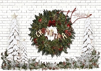 CHRISTMASY Wreath on white brick