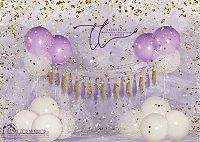 Big Balloon Confetti Birthday Purple