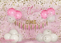 Big Balloon Confetti Birthday ONE Pink