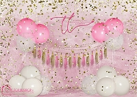 Big Balloon Confetti Birthday Pink