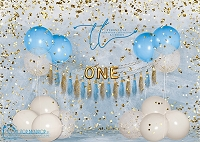 Big Balloon Confetti Birthday One Blue