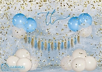 Big Balloon Confetti Birthday Blue