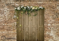 Spring door on rustic brick
