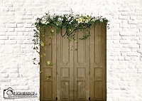 Spring door on white brick