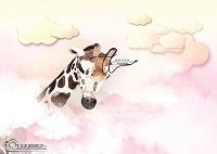 In the Clouds Giraffe pink