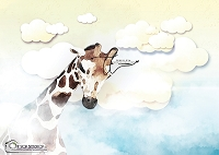 In the Clouds Giraffe blue