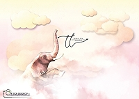 In the Clouds Elephant Pink