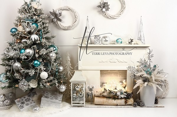 Silver and teal fireplace scene